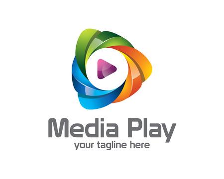 Media 3D gra logo projektu. Kolorowe 3D odtwarzanie mediów wektor logo szablonu. Media Concept zabaw ze stylem projektowania 3D wektora.