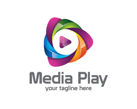 médias 3D jeu de conception de logo. Colorful médias 3D jeu logo vector template. Les médias jouent le concept avec le vecteur de conception de style 3D. Logo