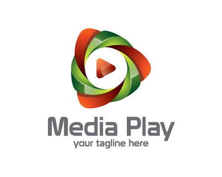 media player: 3D media play logo design. Colorful 3D media play logo vector template. Media play concept with 3D style design vector.