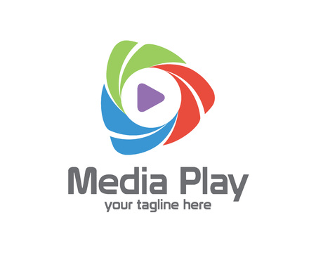 3D media logo play design. Kleurrijke 3D media logo play vector template. Media play concept met 3D-stijl ontwerp vector.