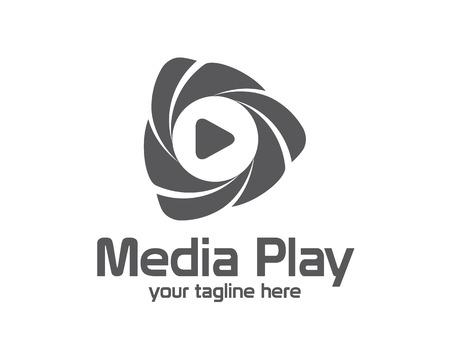 medios 3D de diseño juego logotipo. juego insignia de la plantilla vector de medios 3D colorido. juego del concepto de medios con el estilo de diseño de vectores 3D. Logos