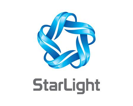 Streszczenie gwiazda 3D tożsamości szablon logo firmy. Gwiazda 3D wektora projektowania logo marki korporacyjnej tożsamości. 3D nowoczesne wektora gwiazdą. Logo