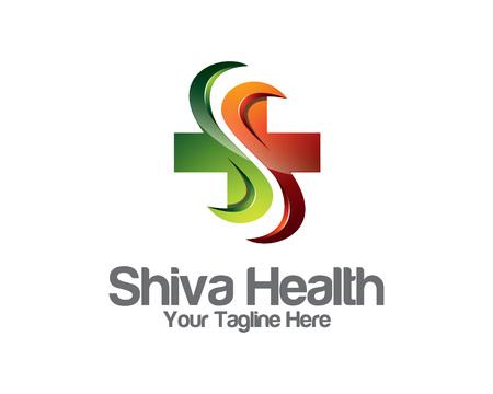 saludable logo: logotipo de la plantilla de identidad negocio de la salud 3D. Salud diseño del logotipo del vector marca de identidad corporativa. 3D vector de la atención sanitaria moderna.