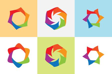 multi color: Set abstract loop shape vector,multi color hexagonal looped vector.