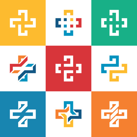 Set collection Plus sign logo template. Medical healthcare hospital symbol. Çizim