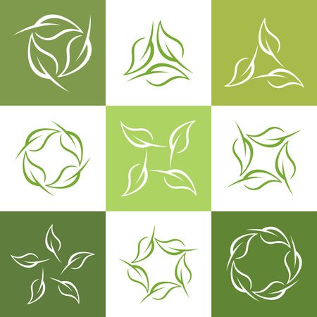 looped: Set abstract leaf shape vector,  collection of looped leaf logo .
