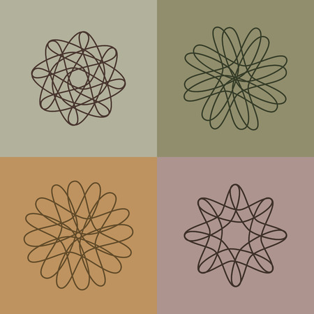 weaved: Set intertwined line vector, abstract loop weaved medieval motif. Illustration