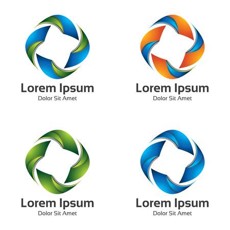 arrow icon: Set collection Colorful loop arrow vector. Abstract bright loop arrow icon logo. Illustration