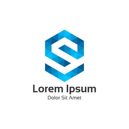 Collectief letter S logo ontwerp vector. Kleurrijke zeshoekige driehoek letter S logo vector template. Letter S logo voor technologie.