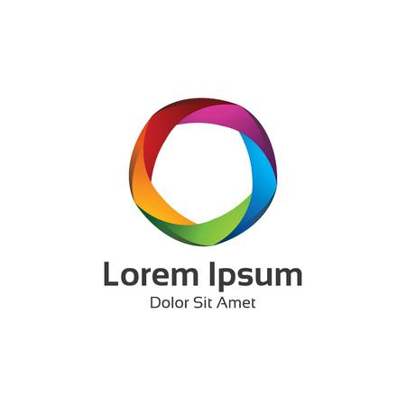 Kleurrijke 3D-cirkel ster logo template. Star vector logo design branding corporate identity.