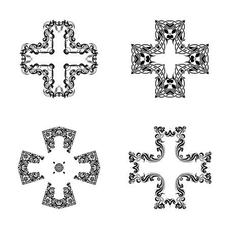 catholic: Abstract cross symbol Ornament . Geometric cross kaleidoscope element vector. Cross tattoo ornament.black and white cross symbol. Illustration