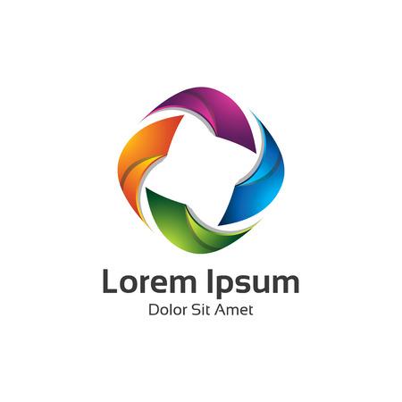Astratto d'avanguardia multicolore logo elemento di design. 3D freccia ciclo logo vettoriale.