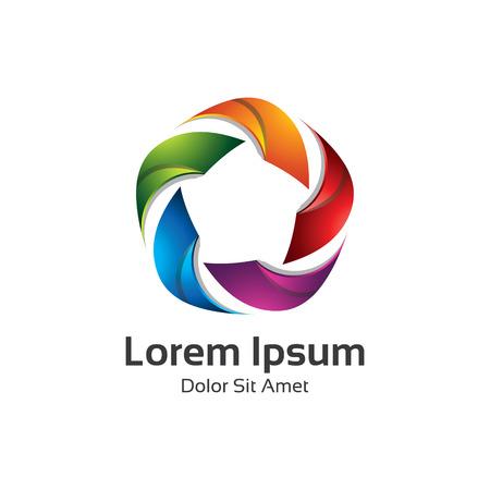 Kolorowe 3d koło star logo szablonu. Gwiazda wektora projektowania logo marki korporacyjnej tożsamości.