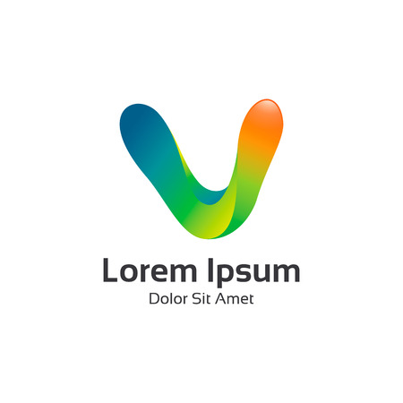 v shape: Business corporate letter V logo design vector. Colorful 3D letter V logo vector template. Letter V logo for technology. Illustration