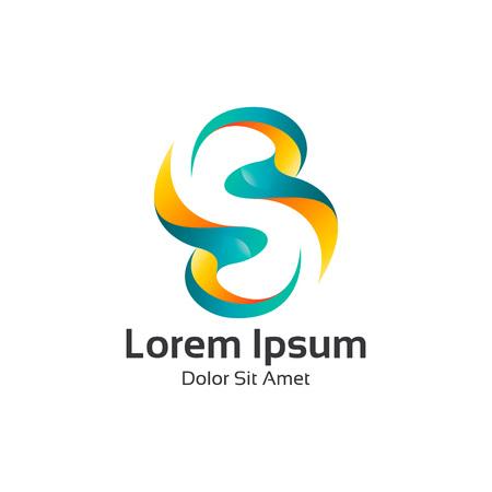 Collectief letter S logo ontwerp vector. Kleurrijke 3D letter S logo vector template. Letter S logo voor technologie. Logo