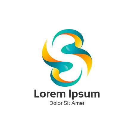 carta: Negocio corporativo letra S logotipo de diseño vectorial. Plantilla de colores 3D letra S vector logo. logotipo de la letra S de la tecnología.