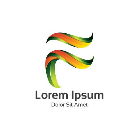 Abstract 3D Letter F logo vector. Letter F vector design illustration for technology . Logo