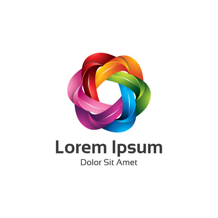 abstract aperture: Colorful spectrum diaphragm photography symbol, hexagonal loop logo vector.