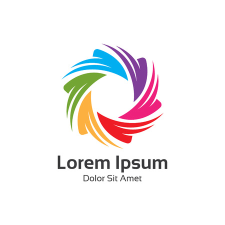 Colorful spectrum diaphragm photography symbol, hexagonal loop logo vector.