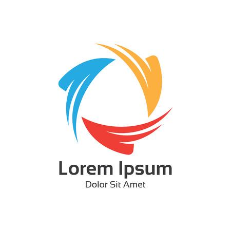 Kleurrijke driehoek loop logo symbool, pijl driehoek logo ontwerp vector. Stock Illustratie
