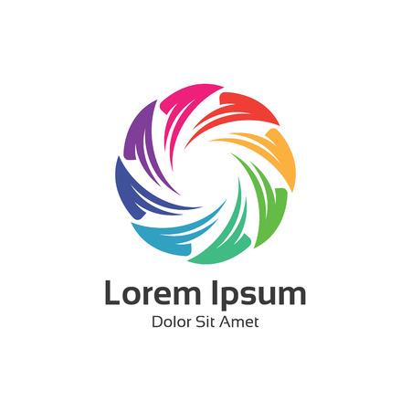 logo element: Colorful spectrum circle loop symbol. Circle logo vector design. Illustration