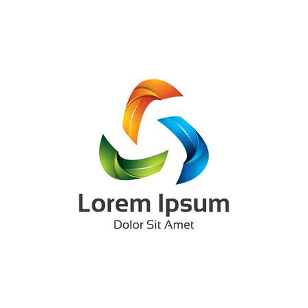 arrows circle: Abstract trendy multicolored logo design element. 3D Triangle loop logo vector.