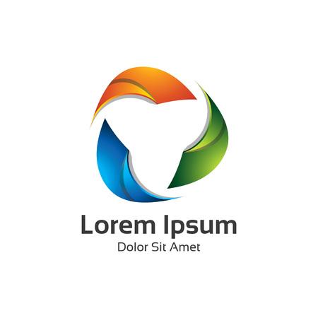 loop: logo multicolor elemento de diseño abstracto de moda. Triángulo de logo en 3D de bucle vectorial.