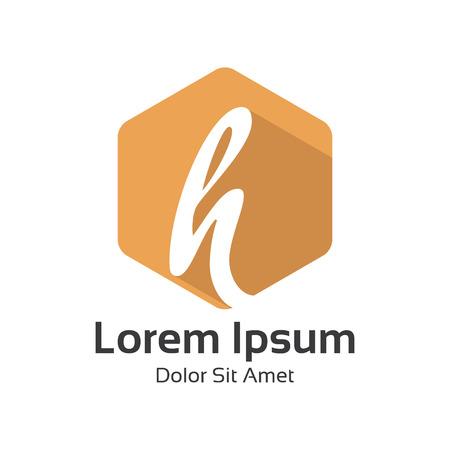 round logo: Letter H logo flat long shadow design vector. Hexagonal flat design of letter H logo vector template. Illustration