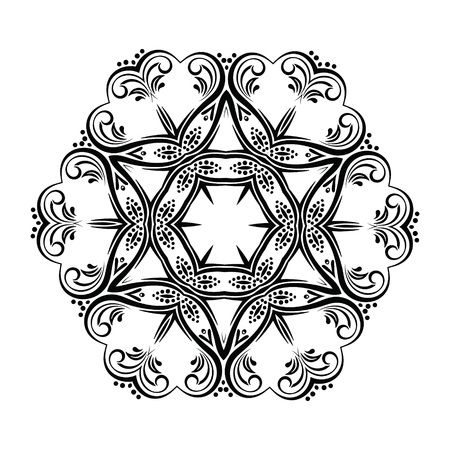 hexagonal pattern: Abstract kaleidoscope Ornament round mandala. Geometric circle kaleidoscope element vector. Henna tattoo mandala.black and white circle ornament, ornamental round lace. Illustration
