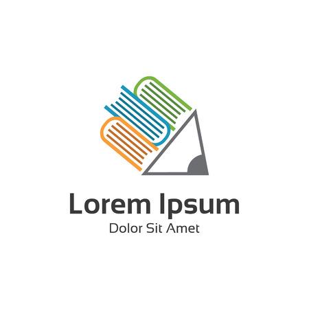 Książka logo wektora projektu. Streszczenie książki i ołówek wektorowych. Książka logo biblioteki lub edukacji.
