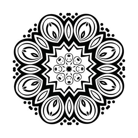 Ornamento abstracto del caleidoscopio redondo de la mandala. Geométrica del círculo del vector elemento de caleidoscopio. mandala.black tatuaje de henna y el círculo blanco ornamento, ornamental de encaje redondo.
