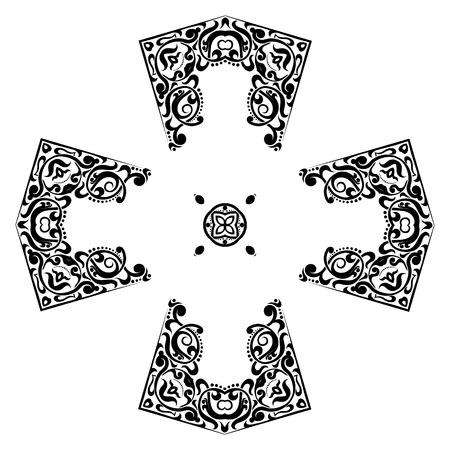 christians: Abstract cross symbol Ornament . Geometric cross kaleidoscope element vector. Cross tattoo ornament.black and white cross symbol. Illustration
