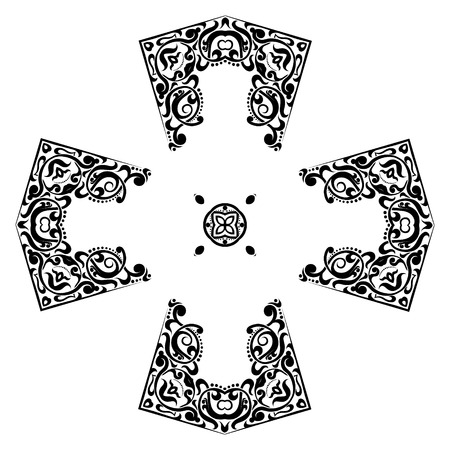 Resumen símbolo de la cruz del ornamento. Geométrico transversal vectores elemento de caleidoscopio. ornament.black tatuaje de la cruz y el símbolo de la cruz blanca.