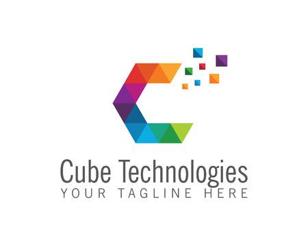 Collectief letter C logo ontwerp vector. Kleurrijke letter C logo vector template. Letter C logo voor technologie.