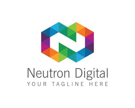Affari lettera aziendale N logo disegno vettoriale. Colorful lettera N template logo vettoriale. Lettera N logo per la tecnologia.