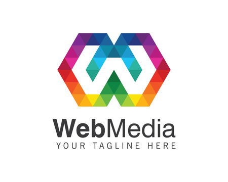 Letter W logo design vector. Colorful letter W logo vector template. Letter W logo web media. Digital letter W vector.