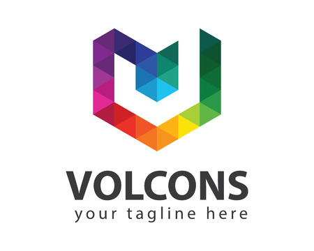 ビジネス企業の手紙 V ロゴ デザインのベクトル。カラフルな手紙 V ロゴ ベクトル テンプレート。テクノロジーの手紙 V ロゴ。  イラスト・ベクター素材