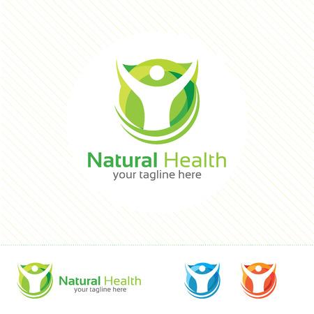 自然な健康のロゴを抽象化します。自然健康シンボル ベクトル。人間キャラ イラスト。