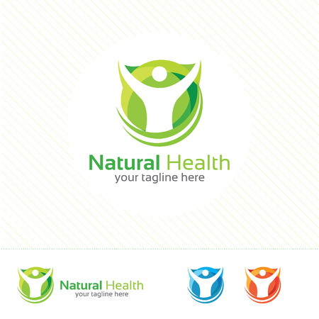 Abstract natural health logo. Nature health symbol vector. Human character illustration. Çizim