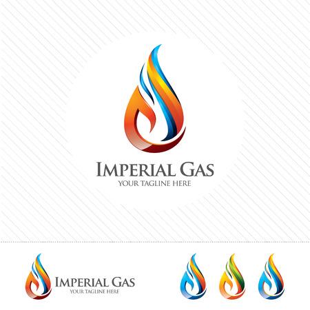 llamas de fuego: aceite de 3D y diseño del logotipo de gas. la plantilla de vectores logotipo de petróleo y gas 3D colorido. concepto de petróleo y gas con el estilo de diseño de vectores 3D.