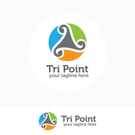 three points: Abstract triangle loop logo. Triangle vector design.