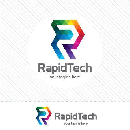Affari lettera aziendale R logo disegno vettoriale. Colorful lettera R logo modello vettoriale. Lettera R logo per la tecnologia.
