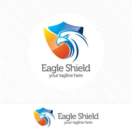 Aquila logo di sicurezza scudo, simbolo astratto di sicurezza. Schermo di protezione logo vettoriale. Logo
