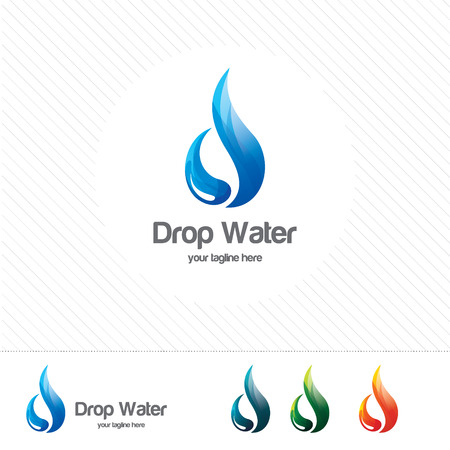 Water drop Logo design vector template. Natural Mineral Aqua icon. Waterdrop liquid Oil . Vettoriali