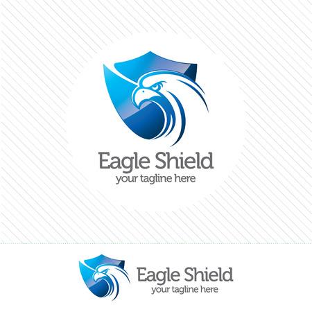Eagle logo bezpieczeństwa tarcza, abstrakcyjny symbol bezpieczeństwa. Tarcza ochrony wektor logo.