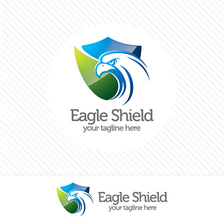 eagle shield: Eagle shield security logo , abstract symbol of security. Shield protection logo vector. Illustration