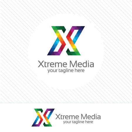 Affaires lettre d'entreprise de conception de X. Colorful modèle lettre X. Lettre X pour la technologie.