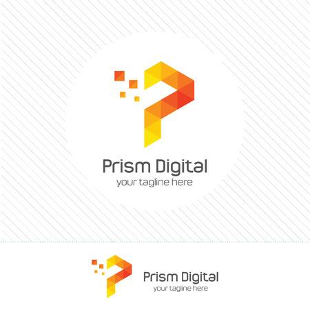 抽象デジタル文字 P デザイン