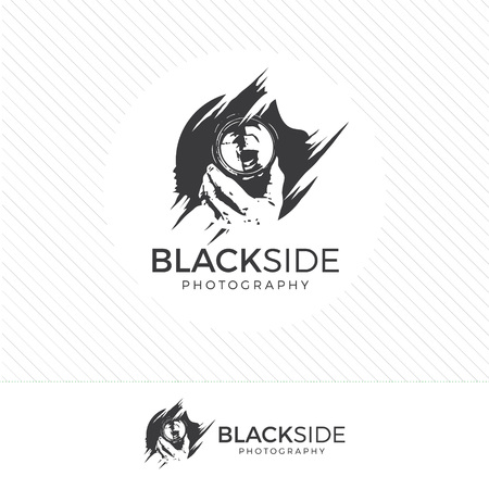 photography logo: abstract silhouette photography logo. Vintage style camera icon vector with photographer holding a lens.