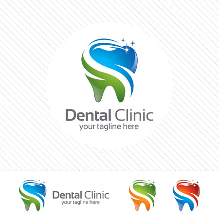 Creative dental clinic logo vector. Abstract dental symbol icon with modern design style.